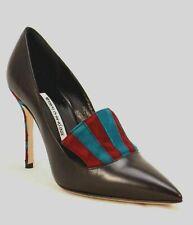 MANOLO BLAHNIK Black Leather Pump Stiletto High Heel Pointed Toe Striped 8.5
