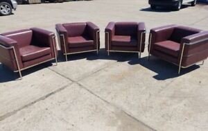 1928 Le Corbusier LC2 Style  Lounge Chairs-by Jack Cartwright - a Pair