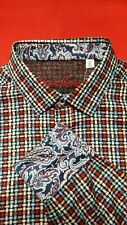 Robert Graham Size M Burntside Red Blue Classic Fit Button Down Shirt, NWT $198