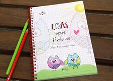 Individuelles Kinder Freundebuch mit Namen EULEN Freundschaftsbuch Poesiealbum