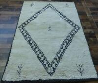 "4'7""x6'8"" New Beni Ourain Des Hand knotted wool Moroccan Oriental rug carpet"