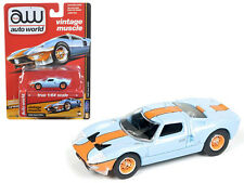 1965 Ford GT40 Light  Blue & Orange Gulf Oil 1/64 Scale By Auto World AW64082