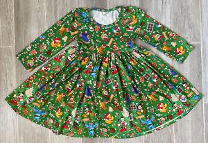 Disney Inspired Girl Long Sleeve Christmas Dress 6/7 Mickey Minnie Pooh *EUC*