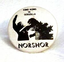 KING KONG vs GODZILLA pinback button Norshor Theatre Duluth Minnesota 1962 1980s