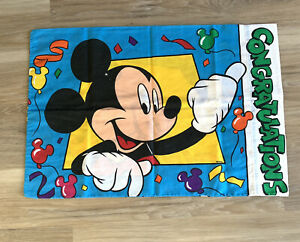 Vintage Mickey Mouse and Goofy Congratulations Standard Size Pillowcase