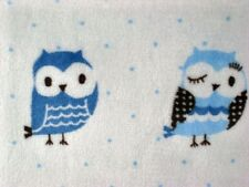 MINKY FABRIC BLUE WISE OWLS BIRDS WOODS DOT CUDDLE CHENILLE KNIT SEW CRAFT 30x36