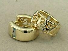E005> SOLID 9K Yellow Gold NATURAL Topaz HUGGIES Hoops Earrings Filigree