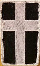 Christian Cross Military Patch With VELCRO® Brand Fastener B & W White Border
