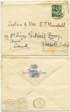 GOLD COAST HALFPENNY PRINTED RATE 1935 to REDHILL FORWARDED to SIDMOUTH GB