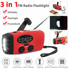Emergency Solar Hand Crank Weather Radio 300mAh Power Bank Charger Flash Light