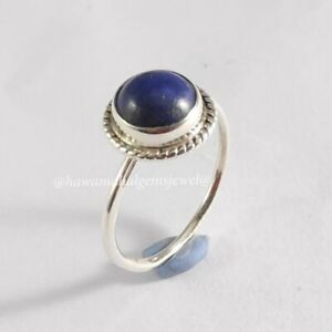 925 Solid Sterling Silver Ring Natural Lapis Gemstone Jewelry Birth Stone Rings