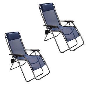 Timber Ridge Zero Gravity Locking Outdoor Recliner Lounge Chair, Blue (2 Pack)