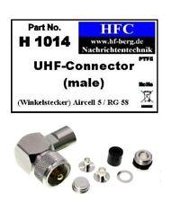 1 Stück UHF-Winkel-Stecker für H 155 / Aircell 5 / RG 58 Koaxkabel 50 Ω (H1014)