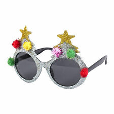 Novelty Christmas Fancy Dress Glasses (Silver Christmas Tree with Pom Poms)