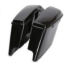 5'' Black Hard Extended Stretched Saddlebags Saddle bag for Harley Touring 14-18