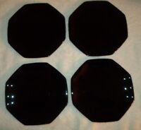 "(4) Arcoroc OCTIME BLACK 7 1/2"" Salad Plates"