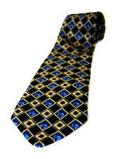 "SECOURS Neck Tie 100% Silk, BLACK, BLUE, GOLD, Baroque Diamond Pattern, 4"" Wide"