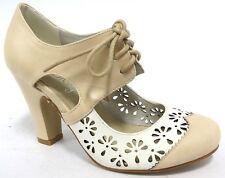 NEW $99 I love Billy Tiffin Latte Beige Bock Heel Tie up Women Mary Jane Shoes