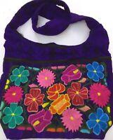 Guatemalan Multicolor Flowers Boho Hippie Shoulder Bag  Crossbody Purse Purple