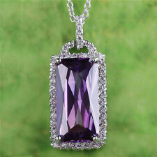 Noble Gifts Emerald Cut Amethyst Gemstone Silver Necklace Pendant Free Shipping