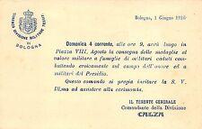 5296) BOLOGNA 1916 COMANDO DIVISIONE MILITARE CONSEGNA MEDAGLIE AL VALORE.