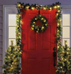 Christmas Wreath Door Hanger Secure Strong Metal Hook Xmas Garland Holder for