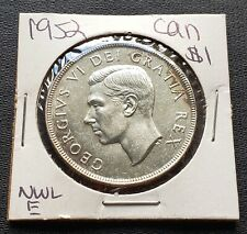 1952 NWL Canada Silver $1 Dollar Coin - No Water Lines Variety - Great Condition