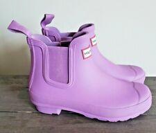 Hunter Women's Chelsea Wellies Matte Purple Pull On Ankle Rain Boots 6 NEW