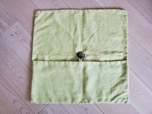 """Pottery Barn Green Linen 24"""" Square Big Button Pillow Cover 