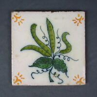 Vintage Primitive Folk Art Hand Painted Orange Ceramic Tile Lisboa Portugal