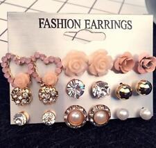 9 Pairs Pearl Rhinestone Rose Flower Earrings Ear Stud Elegant Women Jewelry