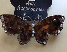un brun et doré émaillé et métal diamanté papillon Barrette à cheveux