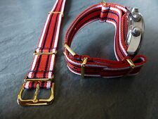 QARANC red white and blue G1098 watch strap, Silver fittings, Army, Nurse, AMS