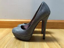 Paris Hilton Silver Platform High Heels Size 7