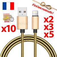 CABLE POUR IPHONE 7 6 5 8 PLUS IPAD IPOD CHARGEUR USB OR METAL RENFORCÉ GOLD 1M