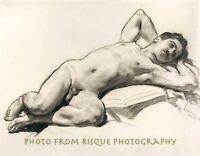 "Nude Male Relaxing 8.5x11"" Photo Print Naked Man Drawing John Singer Sargent Art"