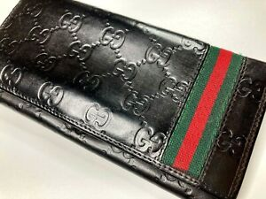 GUCCI VINTAGE GUCCISSIMA GG EMBOSSED CHERIE LEATHER LONG WALLET MEN WEB BIFOLD