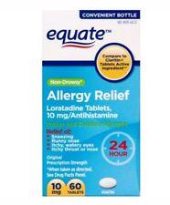 Equate Loratadine 10mg Antihistamine Non-Drowsy Allergy Relief 60 Tablets No box