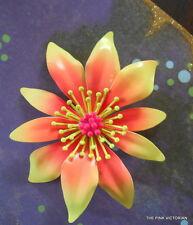 ELECTRIC neon Yellow OMBRE orange VINTAGE metal enamel FLOWER PIN~ EXCELLENT!
