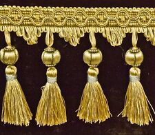 5 Yards Beaded FRINGE Trim for DRAPERY and UPHOLSTERY in (Gold /Light Green  )