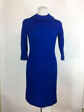 Vintage 1960s Blue Knit Dress Crochet Lace Trim Straight Wiggle