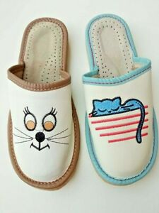Womens Ladies  Leather Slippers Slip On Cat BLUE/BROWN/WHITE/RED Mules Sandals