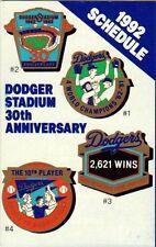1992 LOS ANGELES DODGERS POCKET SCHEDULE-DODGER STADIUM 30TH ANNIVERSARY FRONT