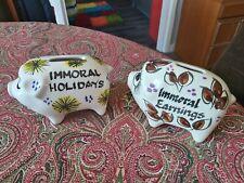 2 x Toni Raymond Piggy Banks Money Box Immoral Holidays & Earnings