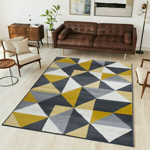 Mustard Geometric Rug | Yellow Grey Living Room Rugs | Long Hall Runner Rugs
