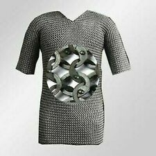 Chainmail Shirt 9 mm Flate Riveted Blackend Half Sleeve Medieval Armor