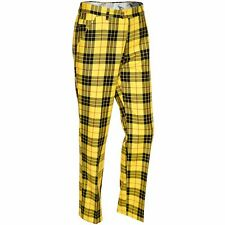 Golf Trousers By Royal And Awesome Loud MacLeod Tartan Black Yellow Pants 30 -44