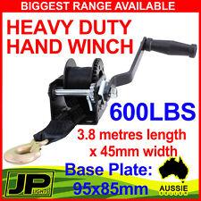 600LBS HAND WINCH GEAR SYSTEM  HEAVY DUTY SYNTHETIC BELT BOAT TRAILER CAMPER