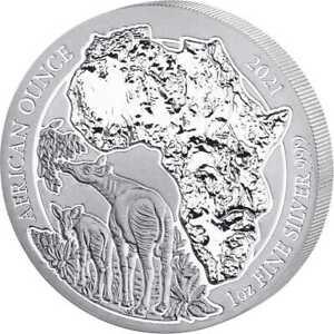 African Ounce Okapi 2021 1 OZ Unze Ounce Silber Silver Argent Ruanda Rwanda