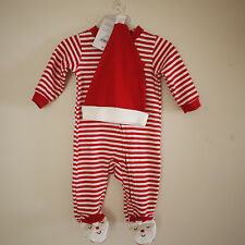 NWT CARTER'S MY FIRST CHRISTMAS SANTA 2piece Red Stripe Bodysuit Hat -newborn